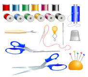 Sewing items. Sewing accessories. May be useful as elements for designers Stock Photos