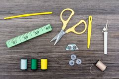 Sewing items and accessories. Including scissors, tape measure and cotton reels stock photo