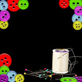 Sewing Items on Black Background Royalty Free Stock Images