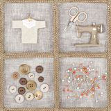 Sewing items on brown background Stock Image