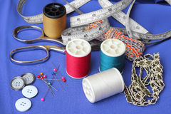 Sewing items. On fabric background stock photo
