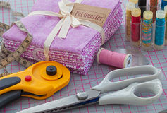Needlework items. Fat quarter and sewing kit ready for patchwork or quilting Stock Photo