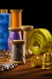 Sewing Items On Brown Wooden Bards Stock Photos