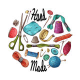 Sewing items set. Vector tailoring equipment. Hand drawn needlework collection. Stock Photos