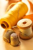 Sewing items and thimble Stock Image