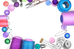 Sewing items. On white background stock photography