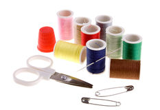 Sewing kit. On white background Royalty Free Stock Images