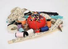 Sewing kit. Old fashion sewing kit  on white background Stock Photo