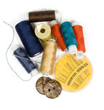 Sewing kit. Group of sewing notions. Isolated against a white background stock photos