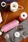 Sewing kit above view royalty free stock photos
