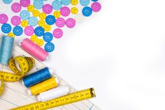 Free Sewing Kit And Accessories For Sewing And Needlework On A White Background Stock Images - 145530684