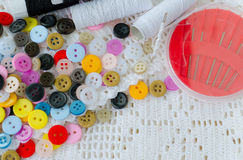 Sewing kit background Stock Photo