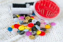 Sewing kit background Stock Photo