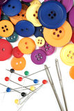 Sewing kit and colorful buttons Stock Photography