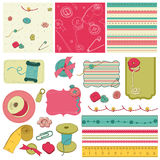 Sewing kit - design elements for scrapbooking royalty free illustration