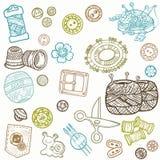 Sewing Kit Doodles Stock Photo
