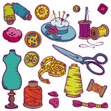 Sewing Kit Doodles Stock Photography