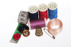 Sewing kit high angle view Stock Photos