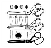 Sewing kit with scissors Stock Photography