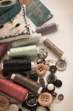 Sewing kit. Scissors, thread, needles and button Stock Images