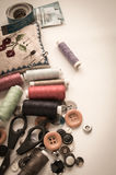 Sewing kit. Scissors, thread, needles and button Stock Photography