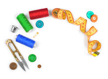 Sewing kit of scissors, thread, pins, buttons Stock Photos