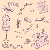 Sewing kit set Royalty Free Stock Image