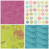 Sewing Kit - Set of Seamless Backgrounds Stock Photos