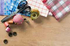 Sewing kit on table Royalty Free Stock Photo