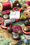 Sewing kit of thread,buttons and needles Royalty Free Stock Images
