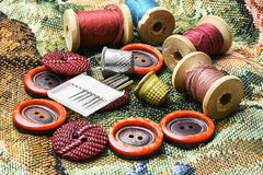 Sewing kit of thread,buttons and needles Stock Photography