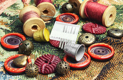 Sewing kit of thread,buttons and needles Stock Photo