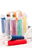 Sewing kit with threads and meter Royalty Free Stock Photo