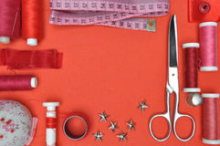 Sewing kit tool, scissors, thread and accessories Stock Photo