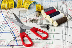 Sewing kit. Sewing tools as a background royalty free stock photography