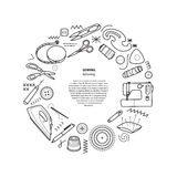 Sewing kit vector round frame Royalty Free Stock Images
