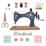 Sewing kit. Vintage vector tailor s tools scissors, sewing machine, pins, thimble, button, coil threads, needles. Patchwork. Lettering handmade. Isolated on stock illustration