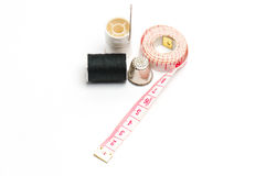 Sewing kit on white background.  Royalty Free Stock Photography
