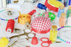 Sewing kit on white background royalty free stock photos