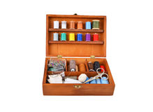 Sewing kit in wooden box Royalty Free Stock Photography