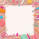 Sewing Kits Icons Set Border vector illustration