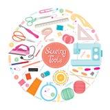 Sewing Kits Icons Set On Circle Frame Royalty Free Stock Photo