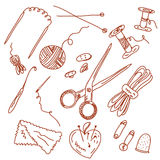 Sewing and knitting doodles Royalty Free Stock Image