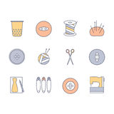 Sewing and knitting icons set. Skein of yarn, knitting needles, spool of thread, scissors, thimble, buttons, case, pins, machine Royalty Free Stock Image