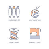 Sewing, knitting icons. Skein of yarn and knitting needles, spool of thread, safety pins, sewing machine. Vector color line logo Royalty Free Stock Photography