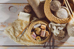 Sewing and knitting tools Stock Images