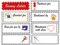 Sewing Labels. 8 black & white tags with primary accents for sewing, tailoring, quilting, needlework, do it yourself projects. Copy space to customize with your Royalty Free Stock Image