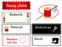 Sewing Labels. With needle, thread, buttons, pincushion, machine, scissors, and a big heart. Copy space to add your name for sewing, tailoring, modeling Royalty Free Stock Image