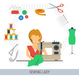 SEWING LADY CONCEPT Stock Photography