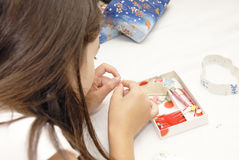 Sewing lesson Stock Photo